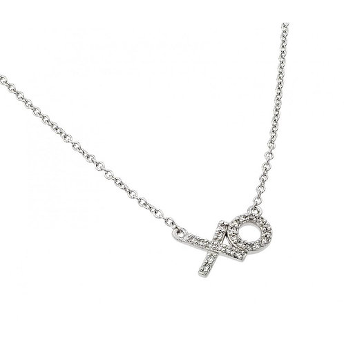 XO Cubic Zirconia Sterling Silver Necklace