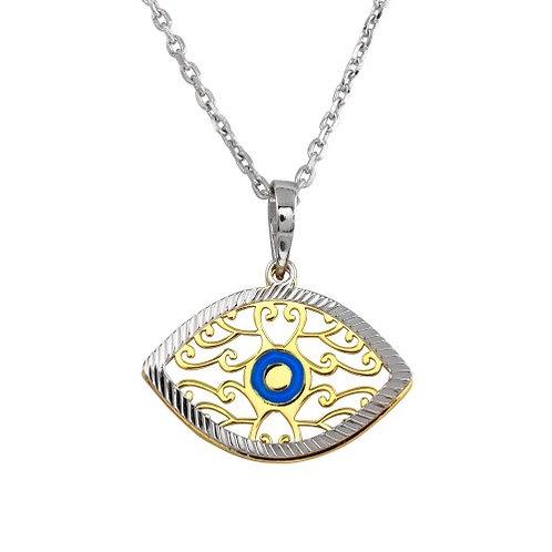 925 2 Toned Blue Enamel Center Double Eye Necklace