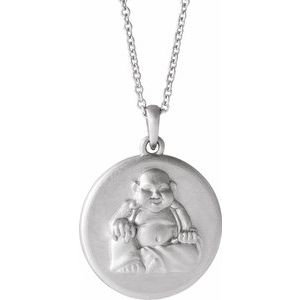 """Sterling Silver Buddha 16-18"""" Necklace"""