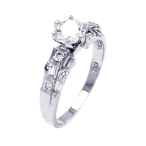 925 Rhodium Plated Clear Baguette Round CZ Bridal Ring