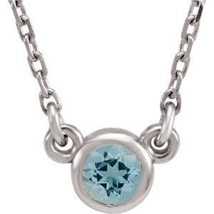 """14K White Aquamarine Bezel 16"""" Necklace"""