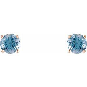 14K Rose 5 mm Round Aquamarine Earrings