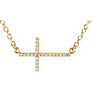 """14K Yellow 1/10 CTW Diamond Sideways Cross 16-18"""" Necklace"""