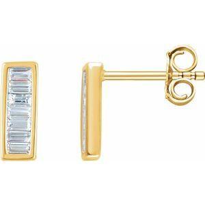 14K Yellow 1/3 CTW Diamond Baguette Bar Earrings