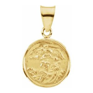 18K Yellow 13 mm St. Michael Medal