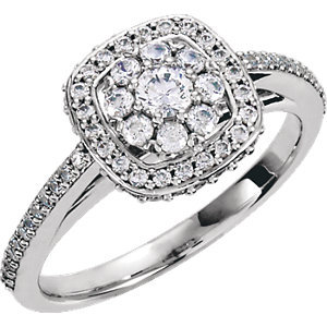 **18K White 1/2 CTW Diamond Engagement Ring