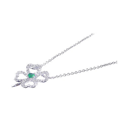 925 Rhodium Plated Clover Clear CZ Inlay Necklace
