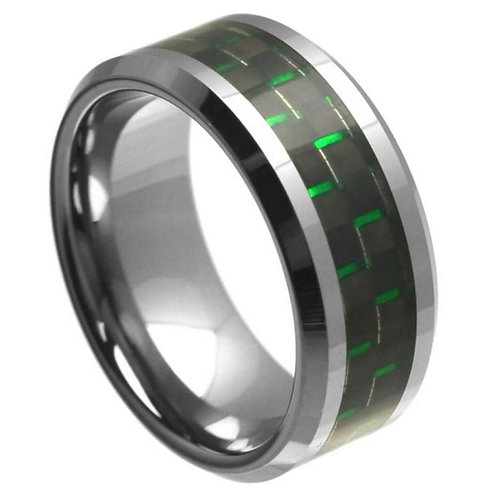 High Polish with Green & Black Carbon Fiber Inlay Beveled Edge - 9mm