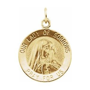 14K Yellow 12 mm Our Lady of Sorrows Medal