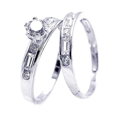 925 Rhodium Plated Clear Round and Marquise CZ Engagement Bridal Ring Set