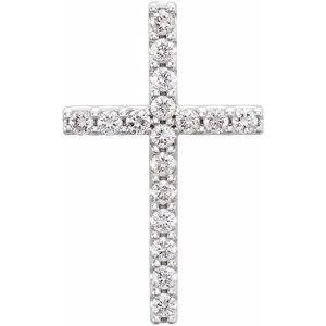 14K White 1/3 CTW Petite Diamond Cross Pendant