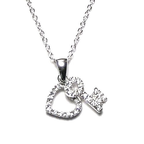 925 Clear CZ Rhodium Plated Heart/Key Entwined Pendant Necklace