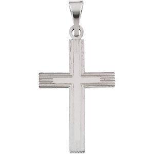 14K White 18x12 mm Cross Pendant with Design