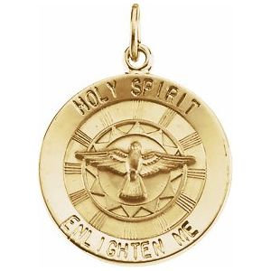14K Yellow 18 mm Holy Spirit Medal