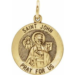 14K Yellow 12 mm Round St. John the Evangelist Medal