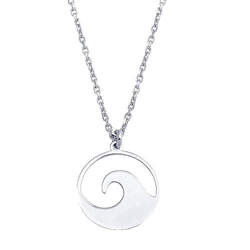 925 Rhodium Disc Wave Design Necklace