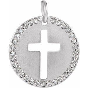Sterling Silver .08 CTW Diamond Pierced Cross Disc Pendant
