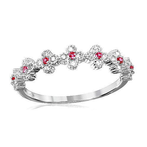 925 Rhodium Plated Clover Band with Red CZ Stones