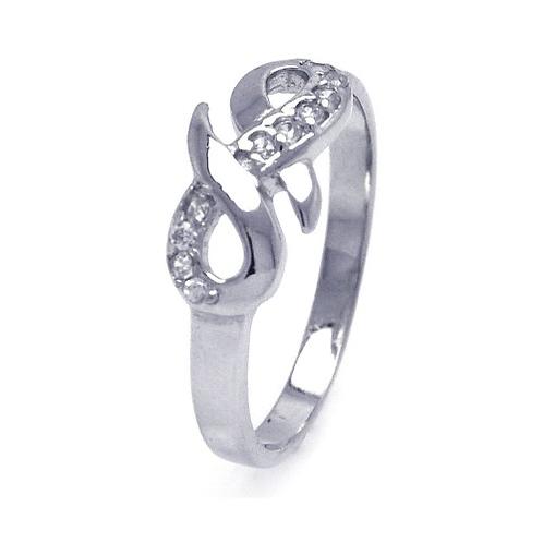925 Rhodium Plated CZ Infinity Ribbon Ring