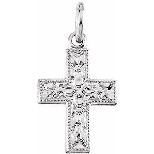 14K White 10x7.5 mm Floral-Inspired Cross Pendant
