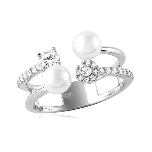 White Pearl Cubic Zirconia Ring