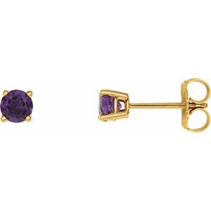 14K Yellow 4 mm Round Amethyst Earrings