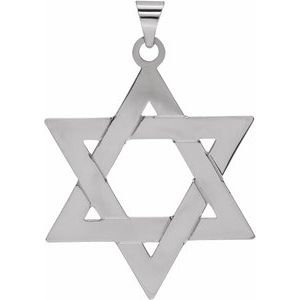 Sterling Silver 32x26 mm Star of David Pendant