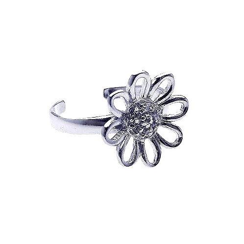 925 Rhodium Plated Clear CZ Daisy Flower Toe Ring