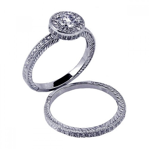 925  Rhodium Plated Micro Pave CZ Engagement Ring Set