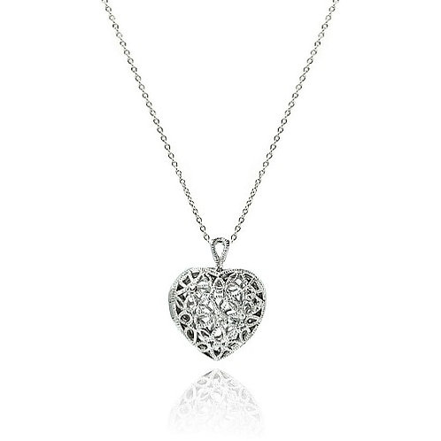 925 Clear CZ Rhodium Plated Heart Locket Pendant Necklace