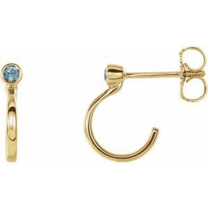 14K Yellow 2 mm Round Blue Zircon Bezel-Set Hoop Earrings