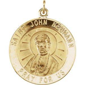 14K Yellow 22 mm Round St. John Neumann Medal