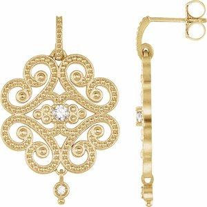 14K Yellow 1/5 CTW Diamond Granulated Earrings