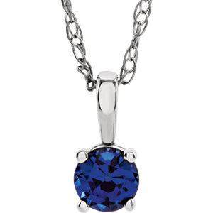 "14K White Chatham® Lab-Created Blue Sapphire ""September"" Birthstone 14"" Necklace"
