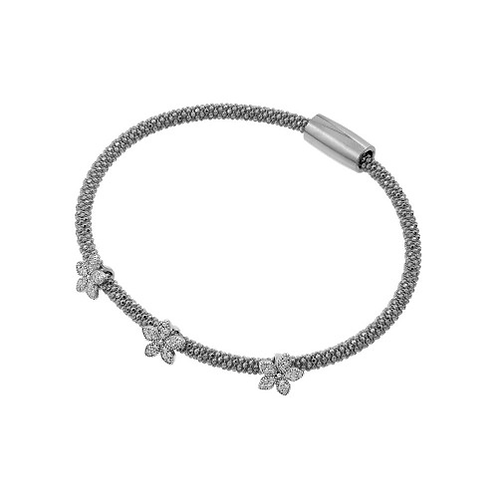 925 Rhodium Plated Three Flower Clear CZ Inlay Bracelet
