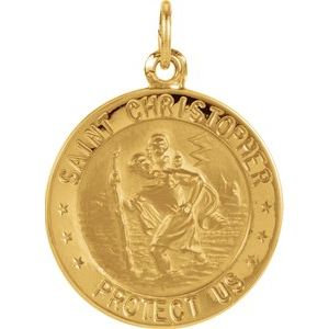 14K Yellow 18 mm St. Christopher Medal