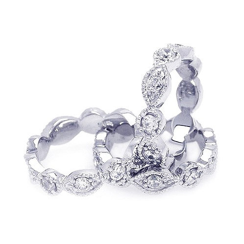 925 Rhodium Plated Clear Round Marquise CZ Stackable Eternity Ring Set
