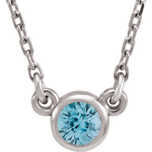 "14K White Blue Zircon 16"" Necklace"
