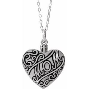 "Sterling Silver Mom Heart Ash Holder 18"" Necklace"