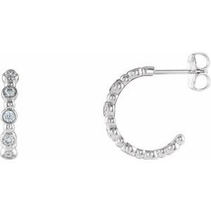 14K White 3/8 CTW Diamond Beaded Hoop Earrings
