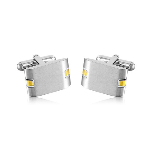 Rectangle and Gold Plated Design Stainless Steel Cufflinks