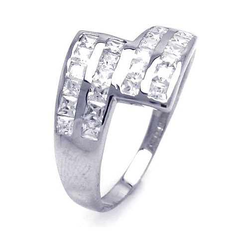 925 Rhodium Plated Clear Square CZ Ribbon Ring
