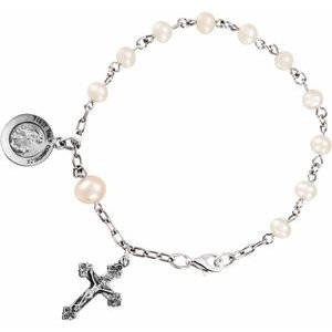 """Sterling Silver Cultured Pearl First Holy Communion Rosary 6 1/2"""" Bracelet"""