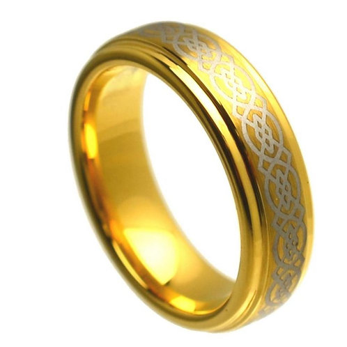 Yellow Gold Plated Stepped Edge Polish Laser Engraved Celtic Knot Pattern- 6mm