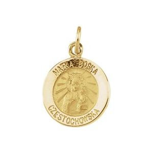 14K Yellow 12 mm Round Matka Boska Medal