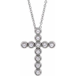 "14K White 1/4 CTW Diamond Cross 16-18"" Necklace"