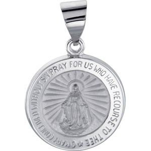 14K White 15 mm Hollow Round Miraculous Medal
