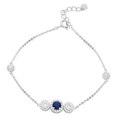 Blue & White Sterling Silver Bracelet