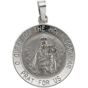 14K White 18 mm Round Scapular Medal
