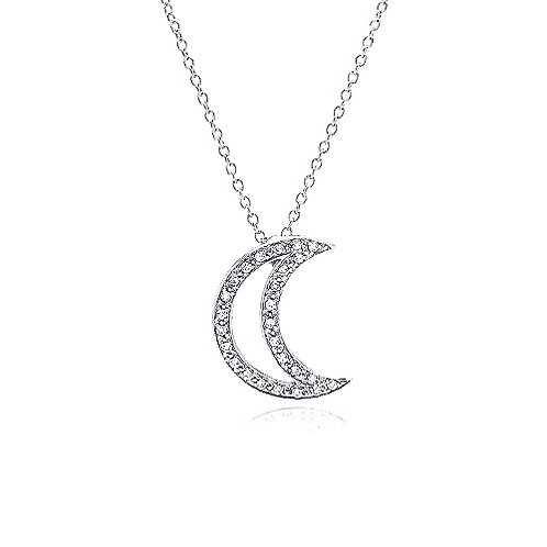 925 Clear CZ Rhodium Plated Half Moon Pendant Necklace